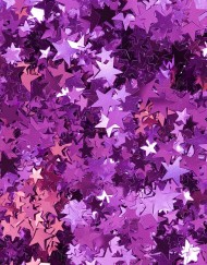 a colorful pink backdrop of metallic confetti star shapes